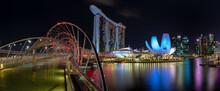 Nightscape Singapore From Helix Bridge