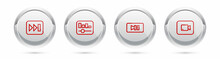 Set Line Fast Forward, Music Equalizer, Pause Button And Play Video. Silver Circle Button. Vector