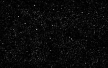 Space Background. Dark Cosmos Texture And White Stars. Realistic Constellations. Stardust Backdrop. Starry Night Sky And Milky Way. Vector Illustration