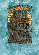 Grunge Watercolor Illustration Of Creepy Skull As A Destroyed Tower Symbol.