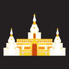 Wat Prachakom Wanaram-Pahkoong Thailand Flat Illustration