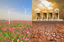 A Global Warming Concept Image Showing The Effect Of Pollution From Nuclear Power Plant And Clean Energy From Electrical Wind Turbine In The Flower Field
