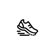 Sport Shoes Monoline Symbol Icon Logo For Graphic Design, UI UX, Game, Android Software, And Website.