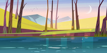 Calm Landscape With River, Green Grass, Bare Trees And Mountains At Morning. Vector Cartoon Illustration Of Nature Scene Of Lake Or Pond In Spring Forest, Rocks On Horizon And Moon In Sky After Sunset