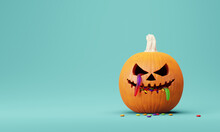 Halloween Pumpkin, Jack O Lantern With Many Candy And Gummy Worm On Blue Background. 3d Rendering