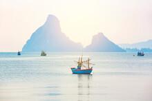 Beautiful Seascape View Fishing Boats And Soft Warm Sunlight At Hua Hin Beach, Prachuap Khiri Khan Province, Thailand.
