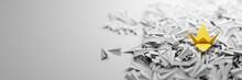 An Origami Bird Between Infinite Planes All Alike; Leadership Concepts, 3d Rendering