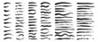 Vector set of grunge artistic brush strokes, brushes. Creative design elements. Long, short, edged black lines.