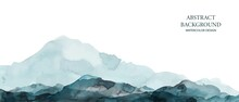 Mountains, Hills Abstract Panorama. Blue, Grey Watercolor Wash. Modern Minimal Abstract Background. Landscape Painting.