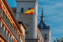 Toledo City Hall With Flag, Spain, Europe