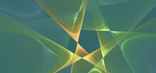 Abstract Minimal Geometric Fractal Background Banner In Blue, Green, Yellow.