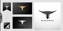 Illustration Of A Black Bull Or Longhorn. Applicable For Corporate Logo, Agency And Personal Brand. Variation Design A Golds And Silver Colors Isolated White And Black Backgrounds.