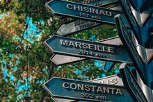 Direction Street Sign Showing Distance Between Cities In Odessa Ukraine. Signpost