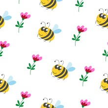 Seamless Pattern Children. Yellow Bumblebee, Pink And Red Flower With Green Leaves. White Background. Cartoon Style. Cute And Funny. Summer Or Spring. Textile, Wrapping Paper, Scrapbokking, Wallpaper