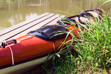 Two Seater Orange Kayak Ready For River Rafting - Active Tourism