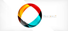 Geometric Abstract Background. Circle Created With Overlapping Color Shapes. Vector Illustration For Wallpaper, Banner, Background, Landing Page