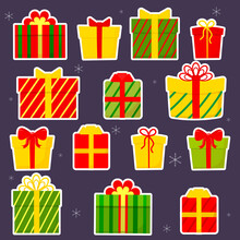Set Of Fourteen Gift Box Stickers With Bow, Gifts On Green Background. Selling, Buying Concept. Collection For Birthday, Christmas. Flat Design, Vector