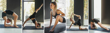 Composite Image Of Shots Of Slim Sportive Woman In Sportswear Doing Yoga Exercises On Mat At Yoga Meditation Hall, Center. Concept Of Healthy Lifestyle