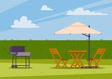 Summer House Backyard With Grill And Garden Furniture Flat Vector Illustration.