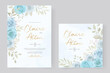 Elegant wedding invitation card with hand drawn soft flower and leaves