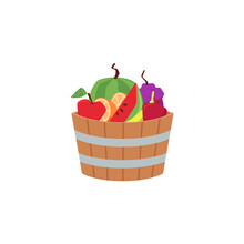 Wooden Vintage Barrel Or Bucket With Fresh Fruits, Flat Vector Illustration.