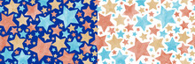 Christmas Seamless Watercolor Vector Pattern Texture With Multicolor Stars. Wrapping Paper. Pastel Color Stars On The Blue And White Background. Painted Illustration. Hand Drawn Template. Vintage.
