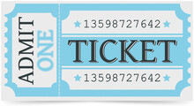 Ticket For Entrance With Barcode, Blue Colour