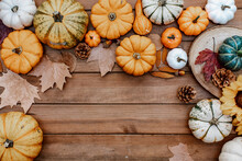 Thanksgiving Flat Lay. Pumpkins, Autumn Leaves On Rustic Wood With Space For Text. Happy Thanksgiving And Halloween Template. Hello Autumn. Harvest