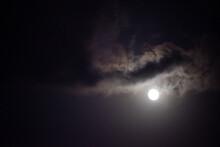 Moon Shining In Dark Night Sky