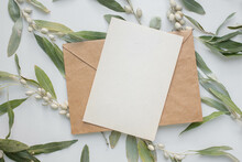 Invitation Card Mockup With Branch Of Elaeagnus Argentea. Rabbitberry. Silverberry.