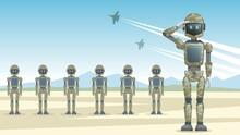Robots Soldiers Stand In A Row, Military Android Salutes