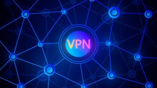 Background With A Network Of Nodes And An Inscription In The Center Of The VPN