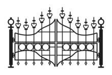 Metal Gate Vector Illustration Isolated On A White Background.