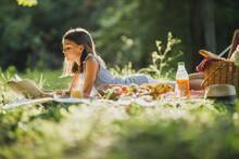 Little Girl Enjoying Day In Nature On Picnic