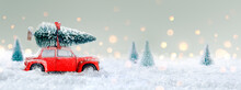 Deformed And Unrecognizable Car Carrying A Christmas Tree In Snowy Landscape