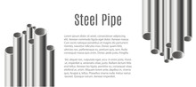 Banner With Realistic Steel Chrome Pipes Of Different Diameter And Text.