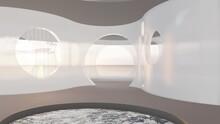 Architecture Interior Background Room Round Windows 3d Render