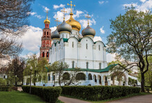 Novodevichy Monastery. Smolensk Cathedral And Bell Tower. Moscow, Russia