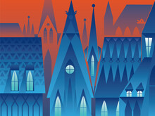 Prague At Night Cityscape, View Of Roof In The Old Town, Vector Illustration