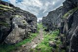 Fototapeta Kawa jest smaczna - Trail in a canyon in Thingvellir National Park, Iceland