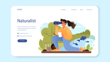 Zoologist Web Banner Or Landing Page. Scientist Exploring And Studying Fauna
