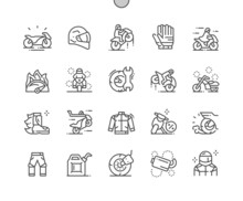 Motorcycles. Sport Bike. Transportation, Drive, Motorbike, Motion, Extreme And Speed. Motorcyclist. Pixel Perfect Vector Thin Line Icons. Simple Minimal Pictogram