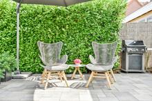 Armchairs Against Hedge On Veranda In Summer