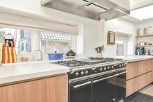 Contemporary Kitchen Interior With Gas Stove At Home