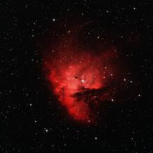 Pacman Nebula In Dark Space With Spike Stars