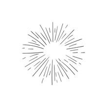 Vector Retro Shine Rays Icon Isolated On White Background, Black Drawings Isolated On White Background, Glow Sign, Circle Shape.