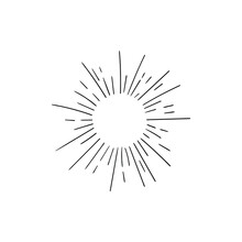 Vector Retro Dotted Abstract Rays Icon Isolated On White Background, Black Drawings Isolated On White Background, Glow Sign, Sun Shine.