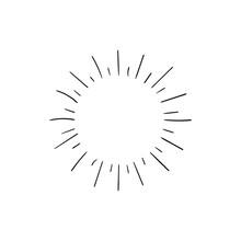 Vector Retro Shining Icon Isolated On White Background, Black Drawings Isolated On White Background, Glow Sign, Circle Shape.