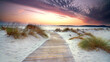 canvas print picture - Holzsteg am Strand