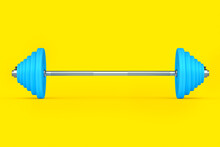 Abstract Metal Barbell With Blue Disks Isolated On Yellow Background